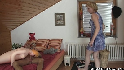 Tow-headed mom in law is happy riding my sex-mad cock!