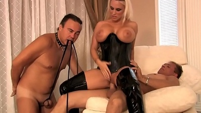 Busty dominant milf wife in latex likes cuckold sex not far from her husband