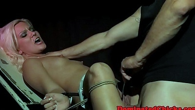 Tormented babe assfucked and jizzed on