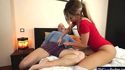 Russian Katrin Tequila banged in say no to pussy by horny grandpa