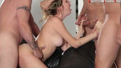 Skank Kinsley enjoying three big cocks