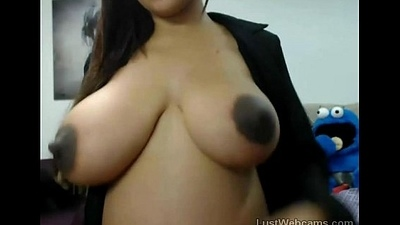 Pregnant latina plays with her unselfish tits on cam