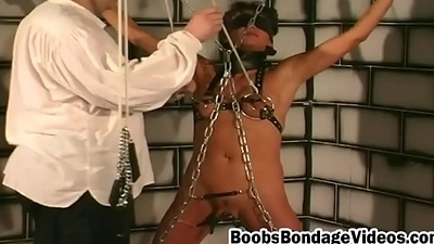 Boobs bondage brunette slut shaved cunt chains