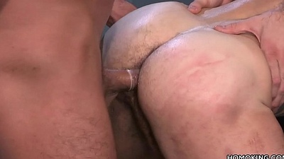 Muscular men sharing dramatize expunge ass of a bearded guy