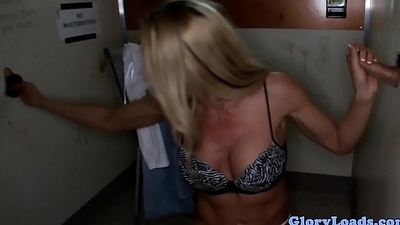 Bigtitted gloryhole gal doggystyles and sucks