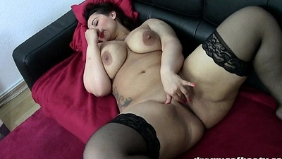 GERMAN Plumper PAWG SAMANTHA Stroking IN BLACK STOCKINGS
