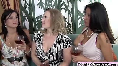 Three horny MILF`s sharing a car mechanics fat cock