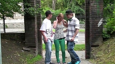 Cute legal age teenager Alexis Crystal AKA Anouk PUBLIC street gangbang