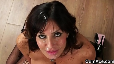 Nasty model gets cum shot on her face guzzling all the sperm