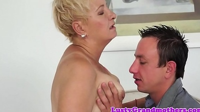 Cumswallowing grandma banged by young guy