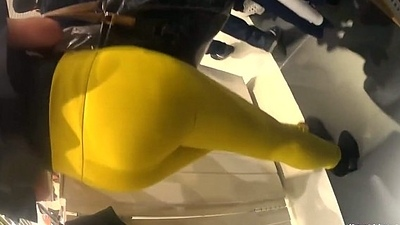 Candid - Classy Latin Babe in Yellow Leggings &amp_ High Heels