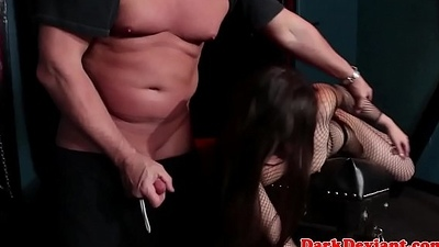 Latex submissive whipped together with humiliated