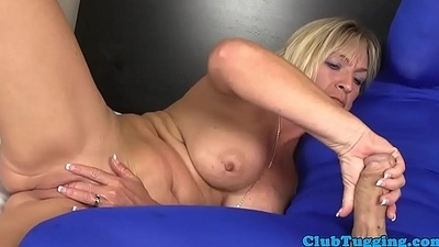 Bigboob gilf strokes cock added to plays with toy