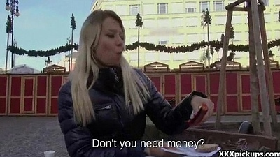 Amateur Teen Sucking Fat Cock Concerning Public For  A Few Mine money 01