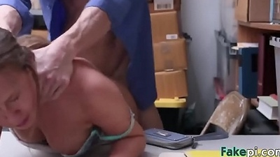 Brunette Brooke Bliss drilled in the back of the store