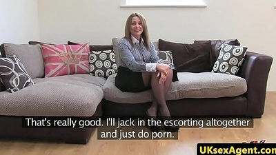 Stockinged brit auditions on casting couch