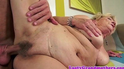 Saggytit grandma banged together with jizzed on pussy