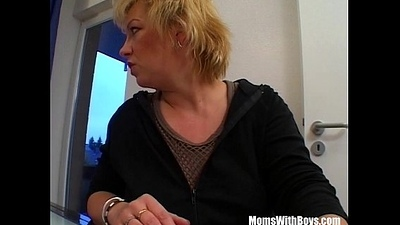 Mature Blonde Sucking Will not hear of Guest'_s Hard Cock