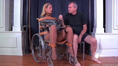 Blonde milf cherie deville tied gagged in a straight jacket and wheelchair smoke