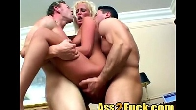Expert tow-haired hooker surprise big cock threesome