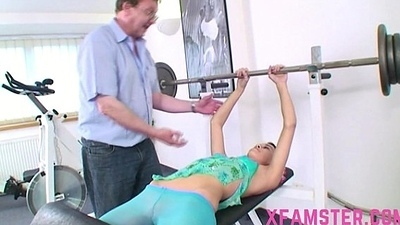 Slim confining stepdaughter amateur bitch in gym fucked hard by elderly trainer stepdad