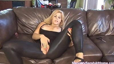 Naughty Sarah at one's disposal Home Masturbation and Squirt in Spandex