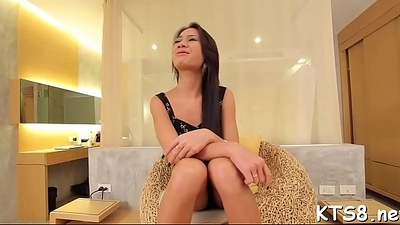 Untaken receptive ass of a ladyboy in action
