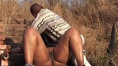 African chubby babe open-air whipped tied up